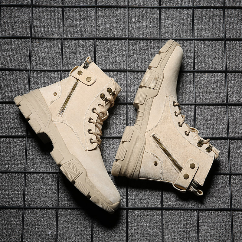 Martin boots mens autumn and winter 2020 new high top British style zipper leather trendy shoes middle helper work boots couple