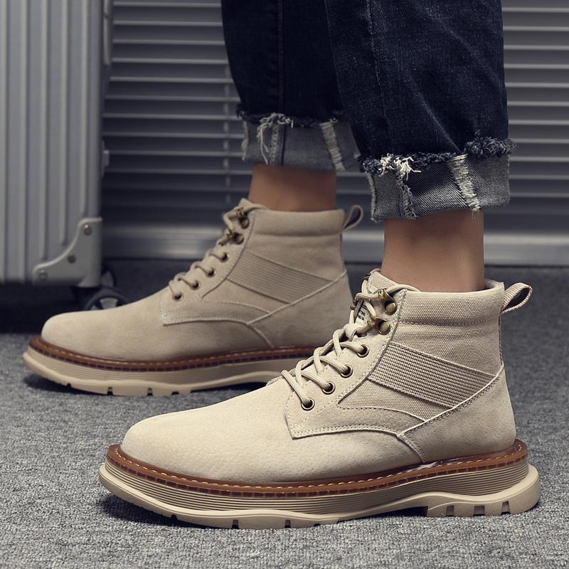 马丁靴男秋冬季2020新款英伦风中高帮男鞋沙漠战术复古工装靴子
