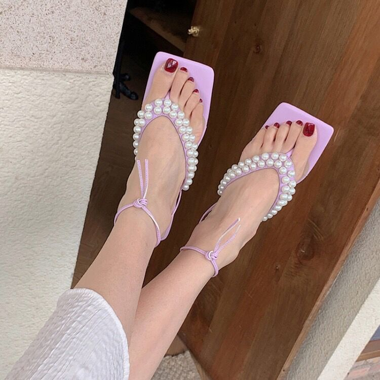 Sandals lady summer heel clip toe herringbone high heel thick heel lace up square head comfortable leather casual fairy purple