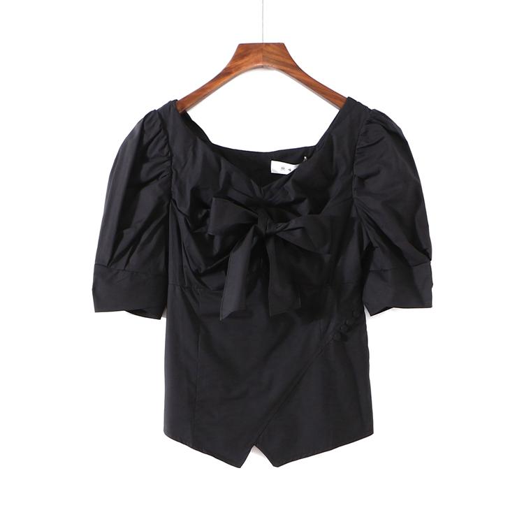 〖唯〗品牌折扣专柜正品女装新款夏装系带泡泡短袖衬衫上衣3R395