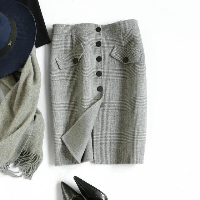 纯手工格子双面毛呢半身裙中长款高腰秋冬2019新款加厚羊毛包臀裙