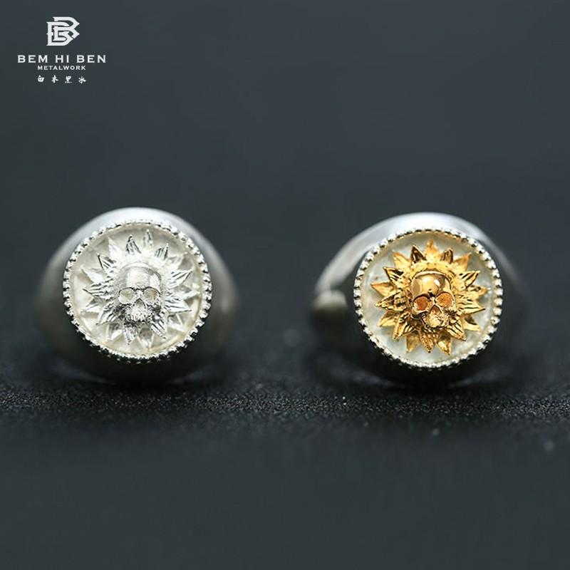 骷髅太阳花金银戒指指环S925纯银向阳花男女士阳光森女系戒圈饰品