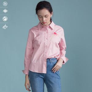 拾卡女款新款设计师文艺绣花衬衫罩衫长袖上衣宽松优雅减龄NC3829