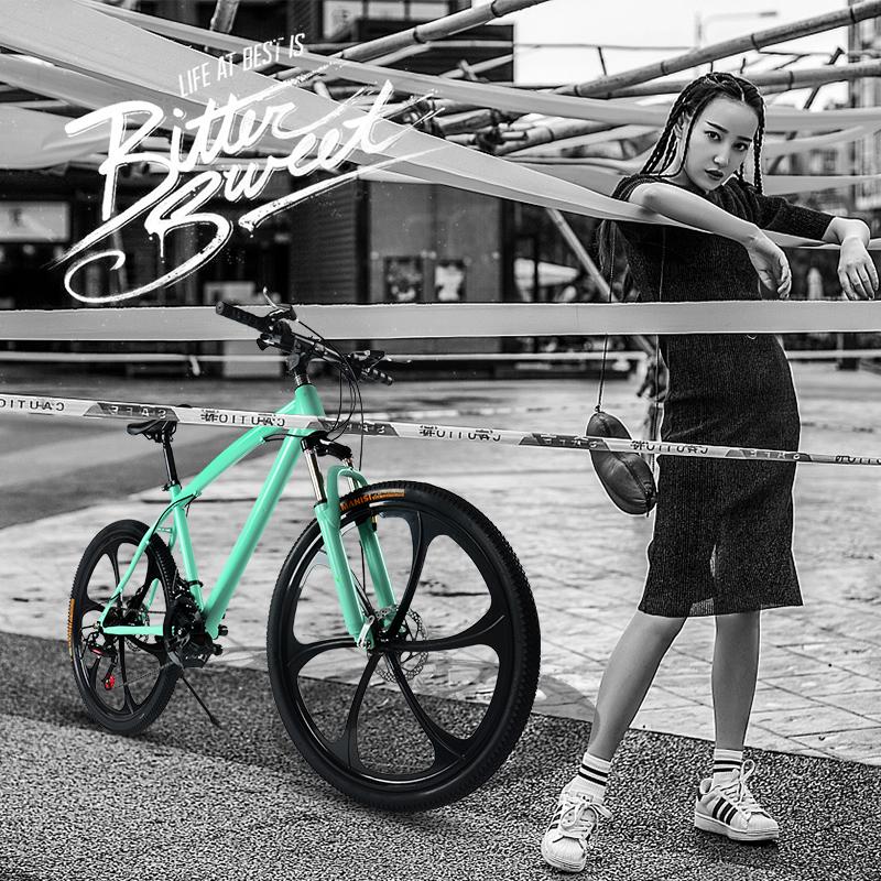 组装大号内胎双碟刹超大高碳钢脚踏板单车山地车越野车减震一体轮