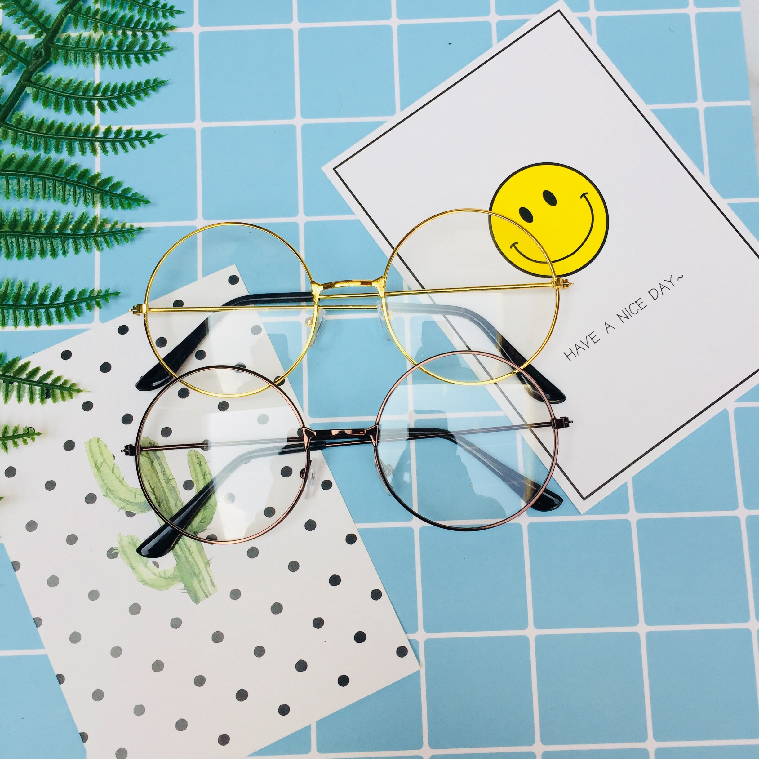 Retro myopia Korean version of mens and womens unrestrained trend degree Pingguang campus round glasses for womens full frame frame frame study