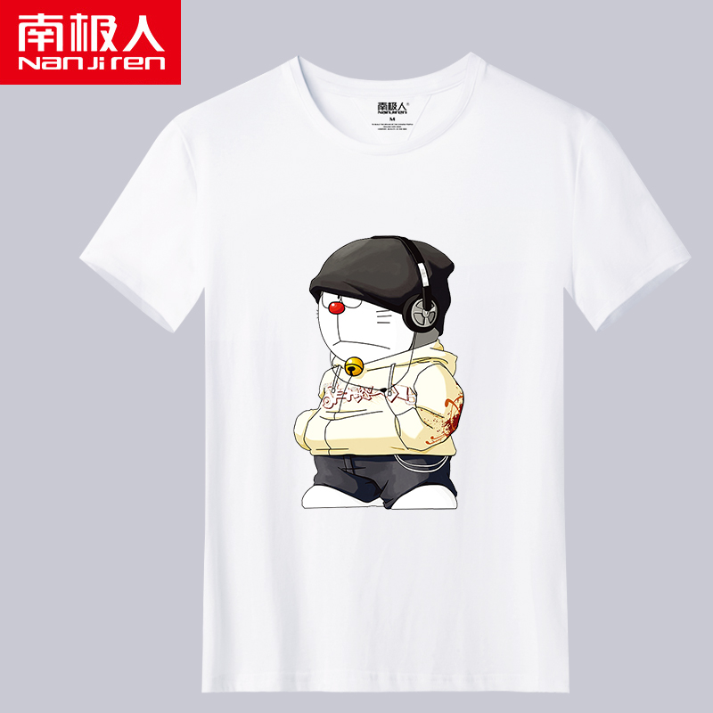 Antarctic mens short sleeve T-shirt loose Korean fashion cartoon pattern student T-shirt half sleeve summer clothes man