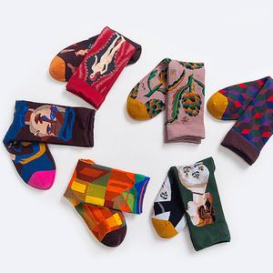 高冷派-法式欧风男女中筒棉袜子