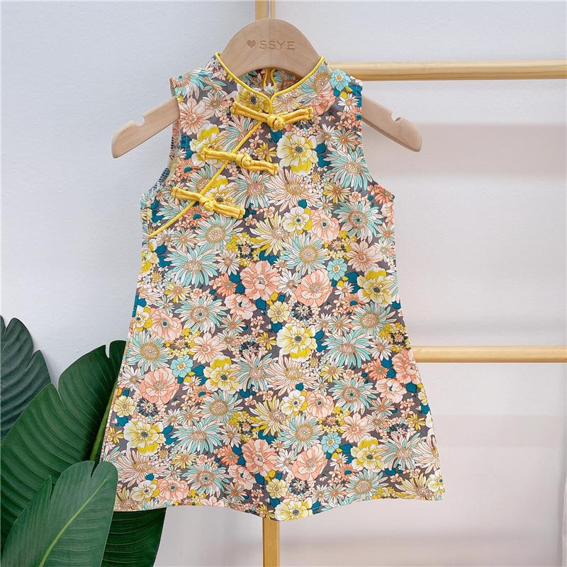 女童碎花旗袍中国风连衣裙2021夏季新款儿童裙子小女孩洋气公主裙