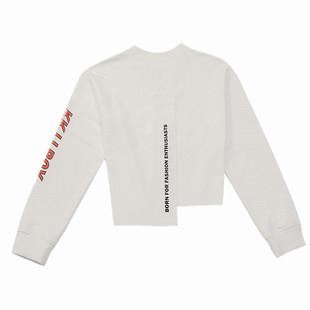加絨短款衞衣女不規則新品潮ins設計感時尚寬鬆字母小個子短上衣
