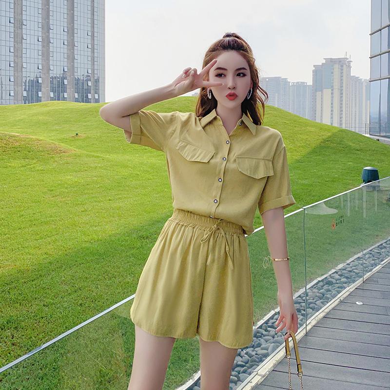 小清新网红雪纺短裤泫雅风套装女神2019新款酷小个子两件套洋气夏券后69.90元