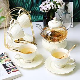 英式下午茶茶具 欧式花茶茶具花茶杯套装 陶瓷玻璃煮水果蜡烛茶壶