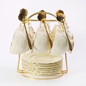 欧式陶瓷杯子咖啡杯碟套装6件套 家用咖啡杯勺子欧式下午茶杯奢华
