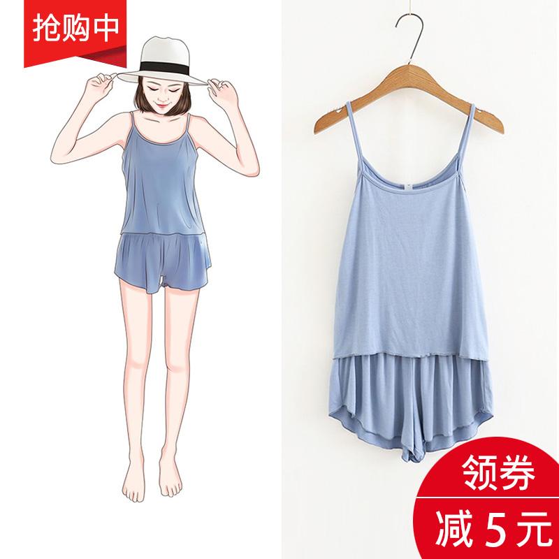 2020新款韩版夏季性感吊带短裤睡衣女薄两件套大码春秋家居服套装图片