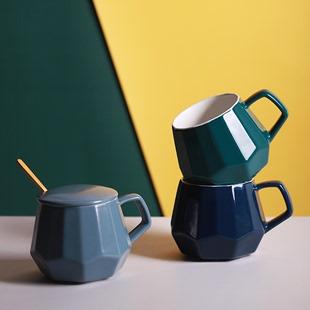 北欧ins陶瓷大肚杯 简约大容量马克杯咖啡家用情侣早餐杯子带盖勺