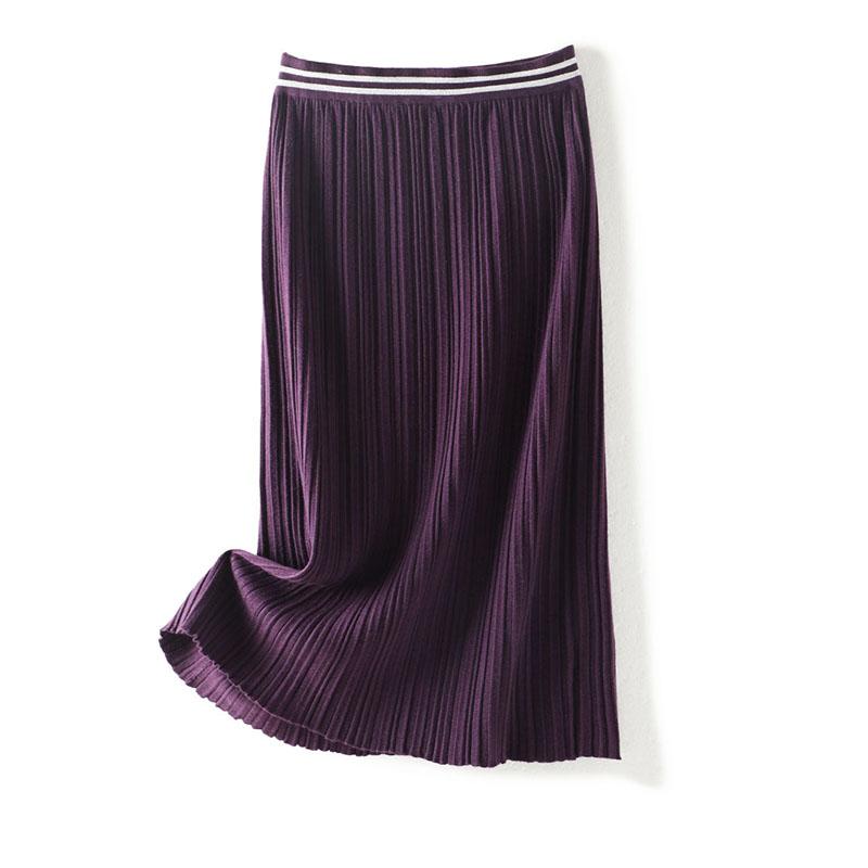 每年用心出的款 松紧腰撞色边立体针织百褶中长款包臀过膝半身裙