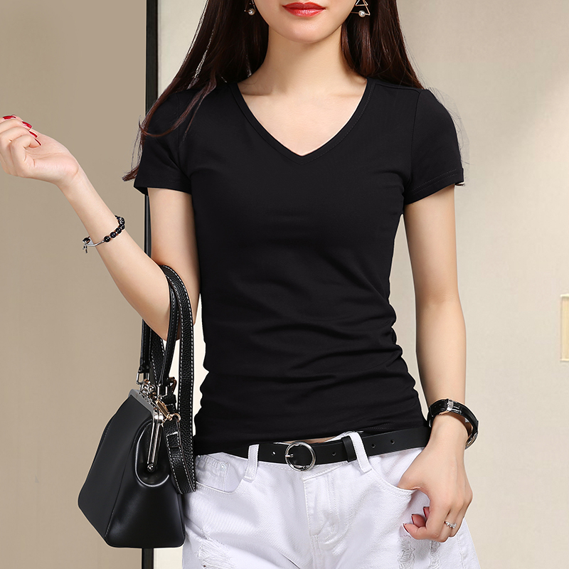 2021 summer black T-shirt ladies short-sleeved V-neck white solid color tight-fitting heart bottoming shirt with cotton top