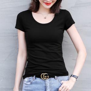黑色短袖t恤女2021新款夏季圆领修身百搭打底衫内搭上衣半袖体恤