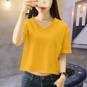 白色短袖t恤女露脐宽松V领夏季高腰漏肚脐打底衫短款上衣ins女潮