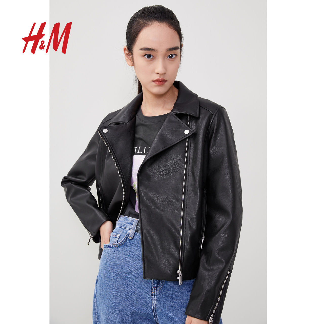 HM women's short functional wind jacket women autumn and winter all-match 2020 new salt motorcycle jacket 0897221