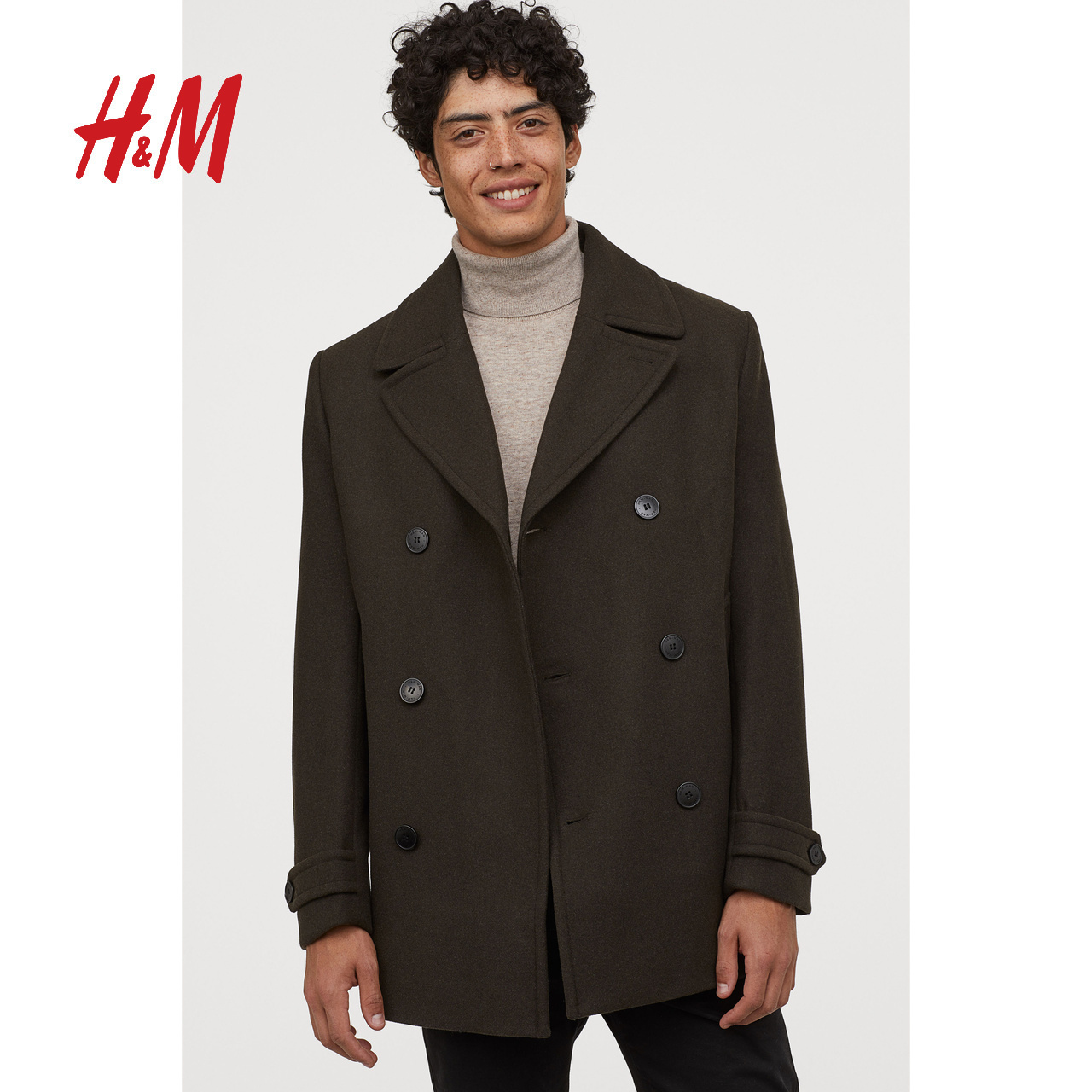 HM men's woolen coat jacket 2020 autumn and winter new thick loose wool navy coat men 0781638