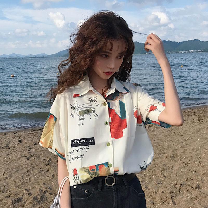 中國代購|中國批發-ibuy99|polo衫女|衬衫女2021春夏季新款韩版设计感小众学生宽松POLO领学生短袖衬衣
