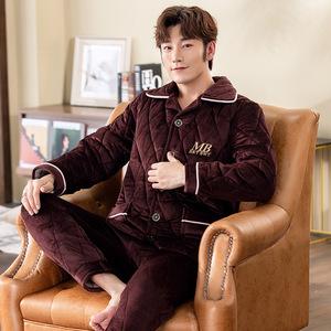 睡衣男士冬季加厚加绒珊瑚绒套装三层夹棉法兰绒秋冬款保暖家居服