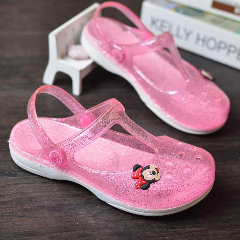 Girls sandals childrens cave shoes summer girls middle school childrens lovely childrens Princess Baotou parent-child beach shoes jelly slippers