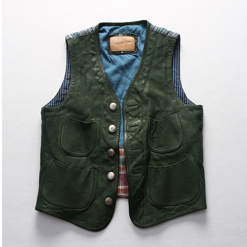 Special price Harley Motorcycle Leather Vest mens vegetable tanned goatskin splicing blue dye cloth thin slim fitting waistcoat