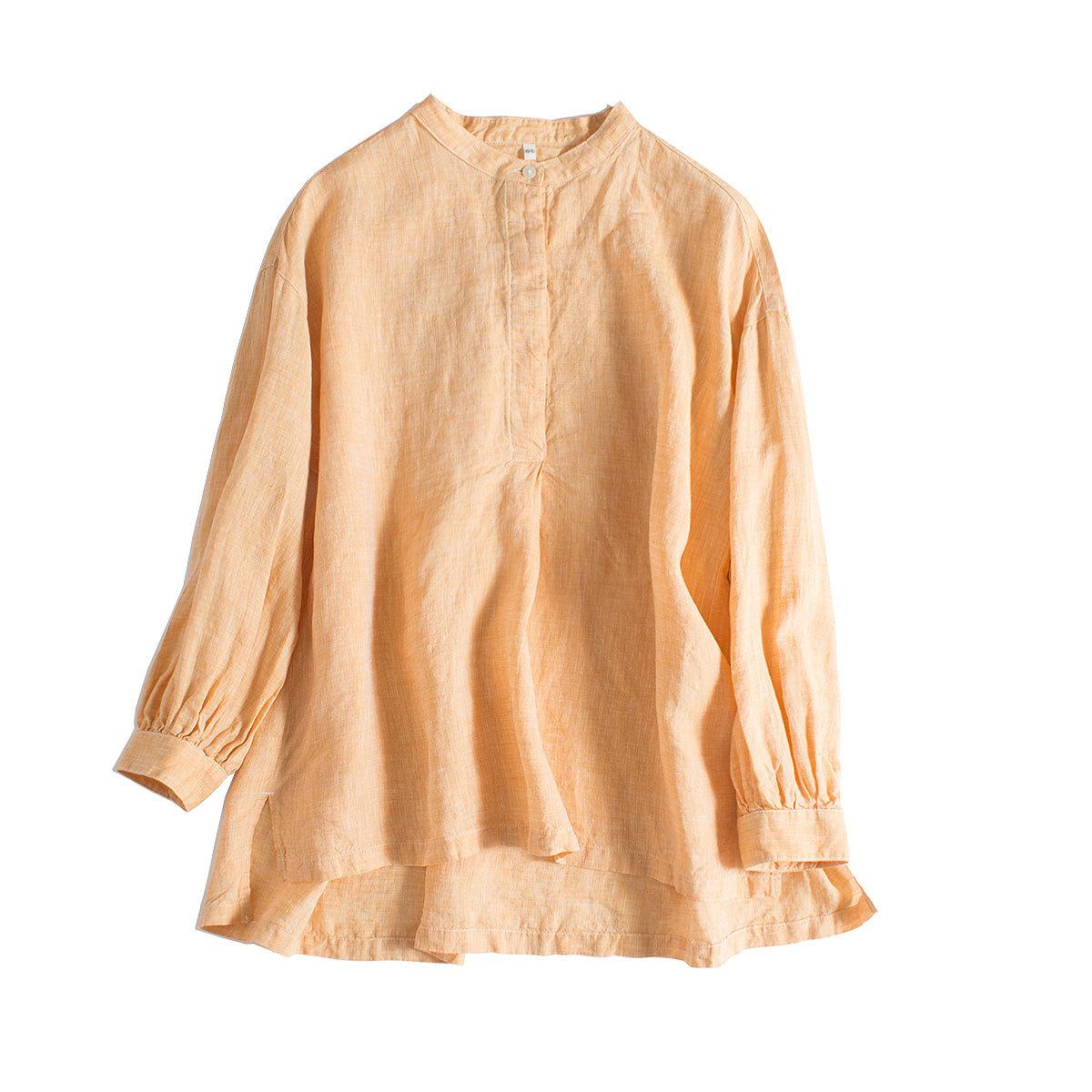 2020春夏新款日系亚麻显瘦立领半开襟暗扣落肩九分袖衬衫女上衣