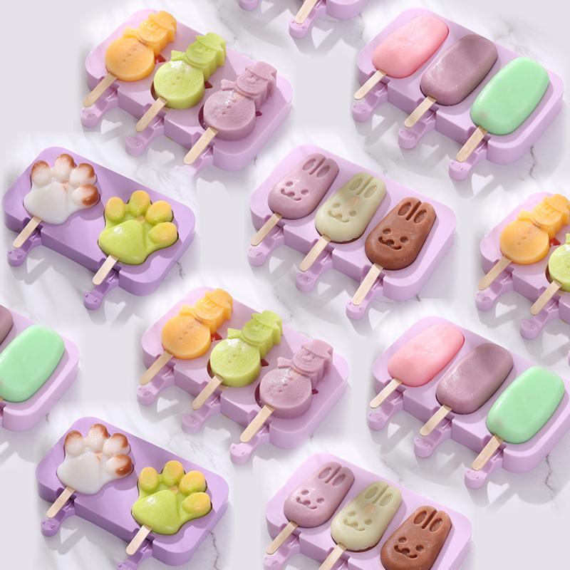 雪糕模具家用冻做冰棍冰棒冰淇淋冰糕的自制儿童可爱硅胶制作卡通