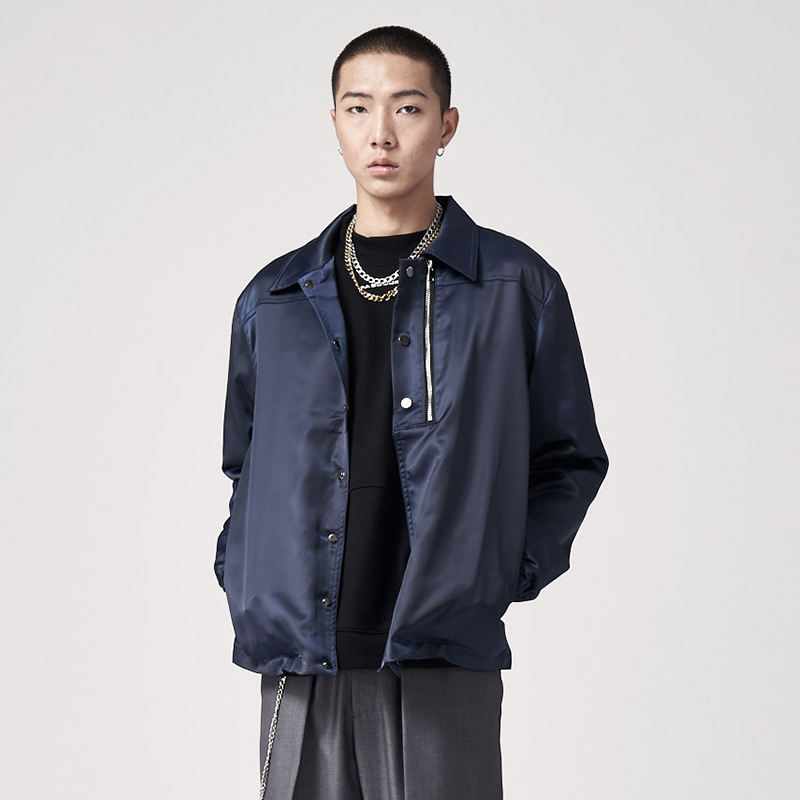 Pasegorce 19aw simple Lapel casual Satin trainer jacket / Navy