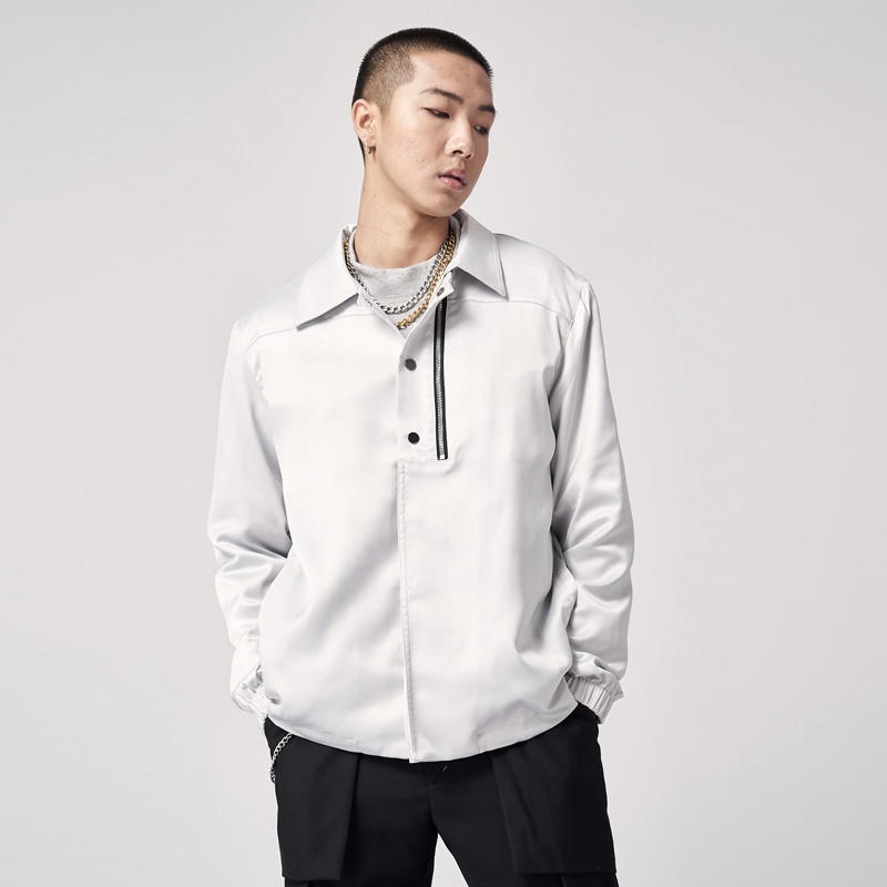 Pasegorce 19aw simple Lapel casual Satin trainer jacket / grey