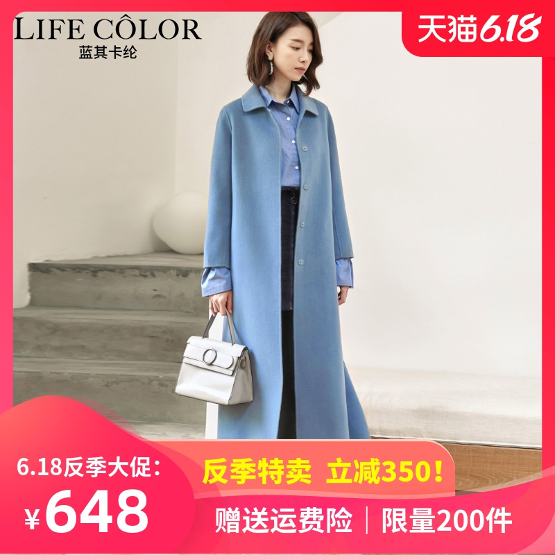 Hepburn woolen overcoat women's fall and winter 2019 knee length super long waist collection show thin and thickened double faced woolen overcoat women