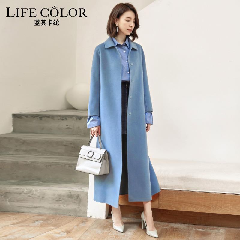 赫本风雾霾蓝纯羊毛双面呢羊绒大衣女2021秋冬加厚加长款腰带显瘦