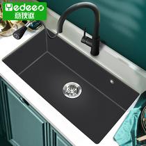 不锈钢厨房小洗菜盆台下304纳米黑色吧台小水槽阳台迷你小号单槽