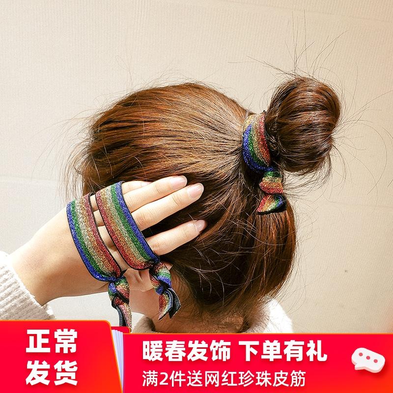 扎头发皮套头绳女简约网红发圈韩国丸子头怎么皮筋发绳粗马尾发带