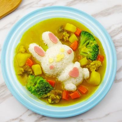 小兔子饭团模具套装儿童米饭磨具DIY盖浇饭咖喱饭卡通宝宝餐工具