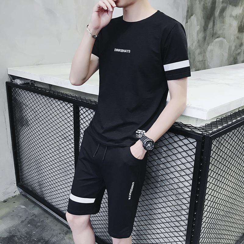 苏格森 夏季新款纯棉短袖休闲套装男青少年韩版修身圆领T恤短裤