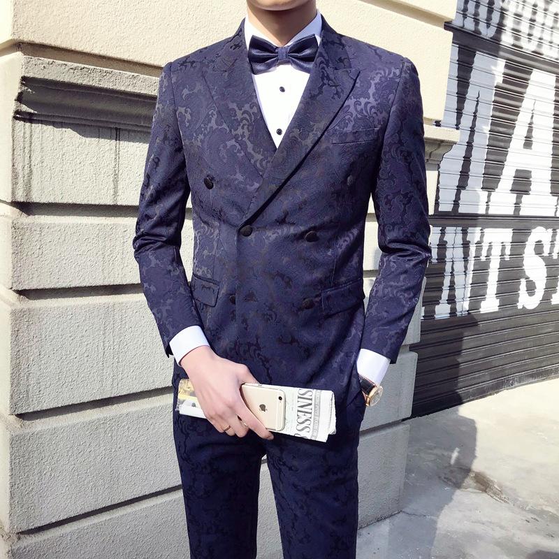 BEEINJEJE宾纪 轻奢品牌男士西服三件套商务正装修身礼服婚礼西装