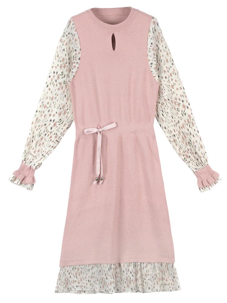 毛衣连衣裙2020年秋装新款法式超仙女收腰气质中长款打底针织裙子