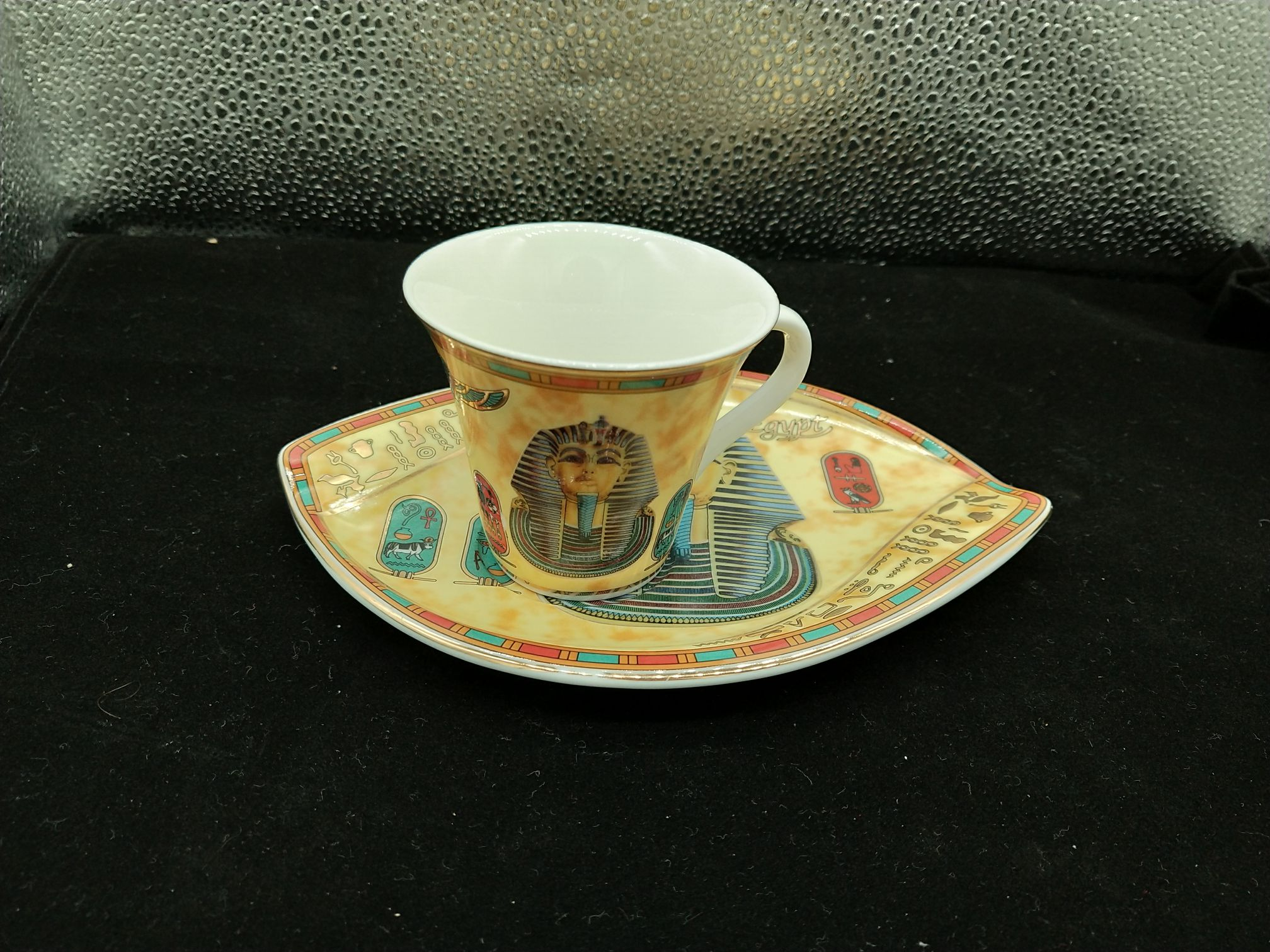 Гарантированное египетское производство. полностью новый Тутка, Египет дверь стиль Кофе ( красный Чай) чашка + блюдце, набор из 49 юаней