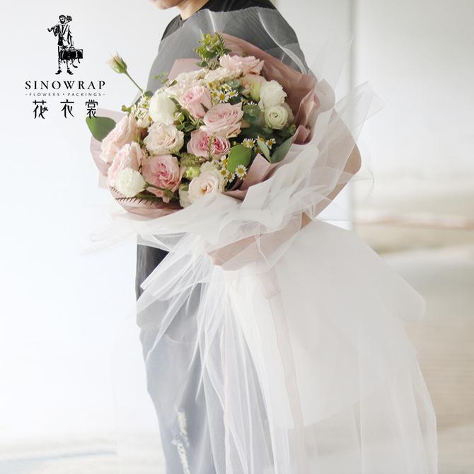 鲜花束包装 材料婚礼花店包花材料大黑纱 花衣裳仙女纱幔水晶纱雪纱
