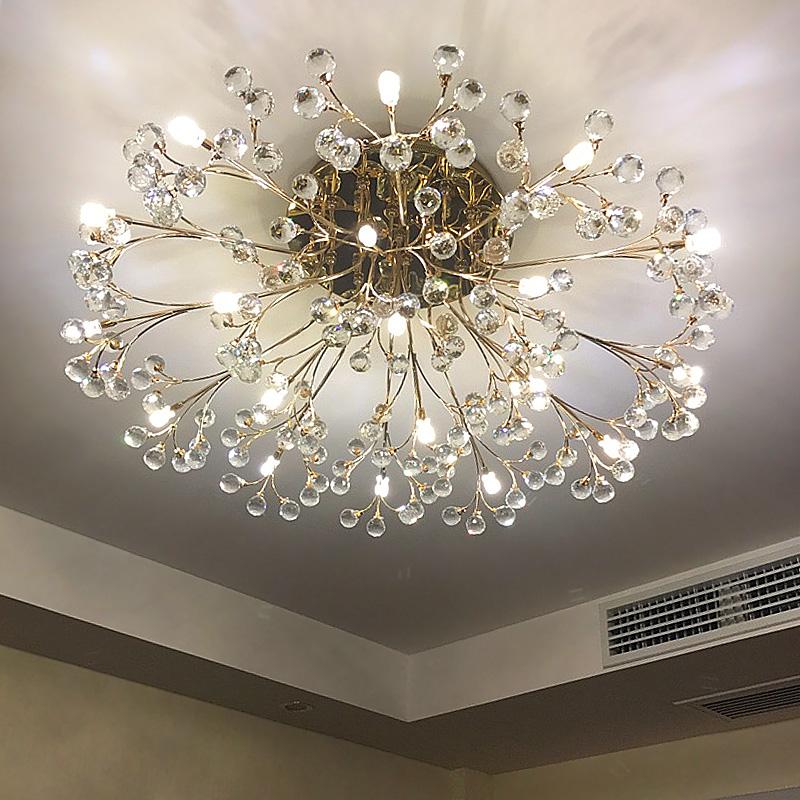 歐式客廳大燈輕奢水晶燈圓形餐廳現代簡約led吸頂燈金色臥室燈具
