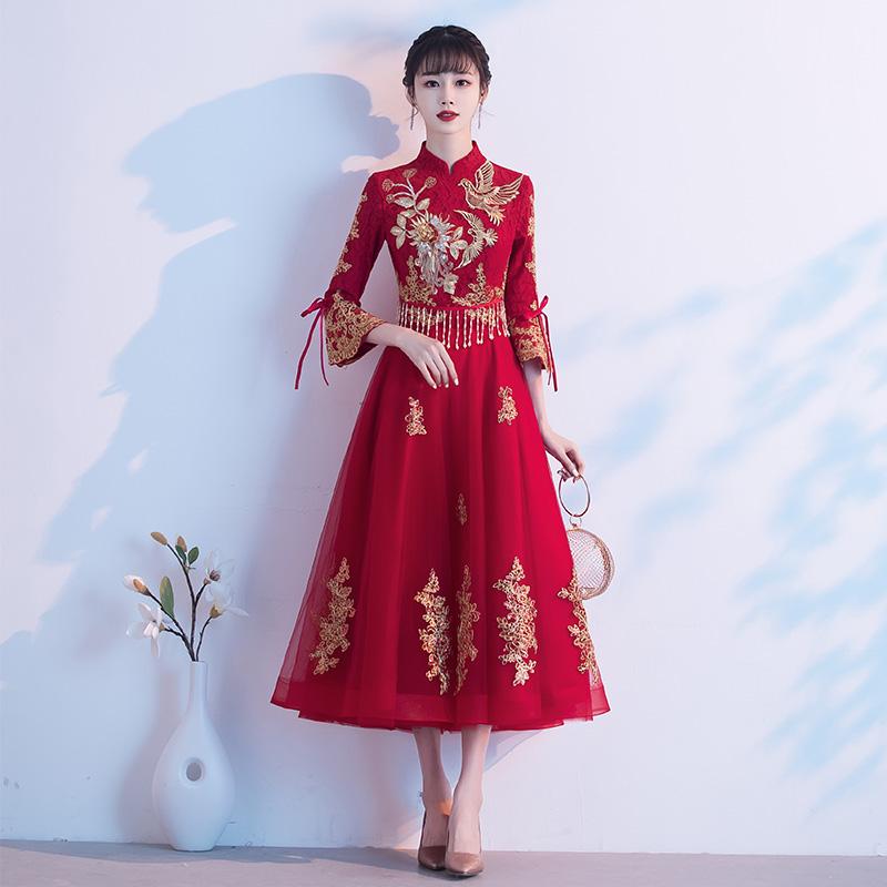中式新娘2020新款孕妇冬季敬酒服