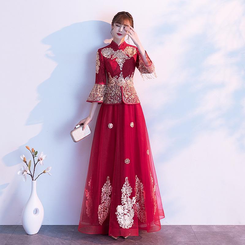 结婚敬酒服2019新款长袖旗袍中式酒红色孕妇遮肚子秀禾服新娘礼服