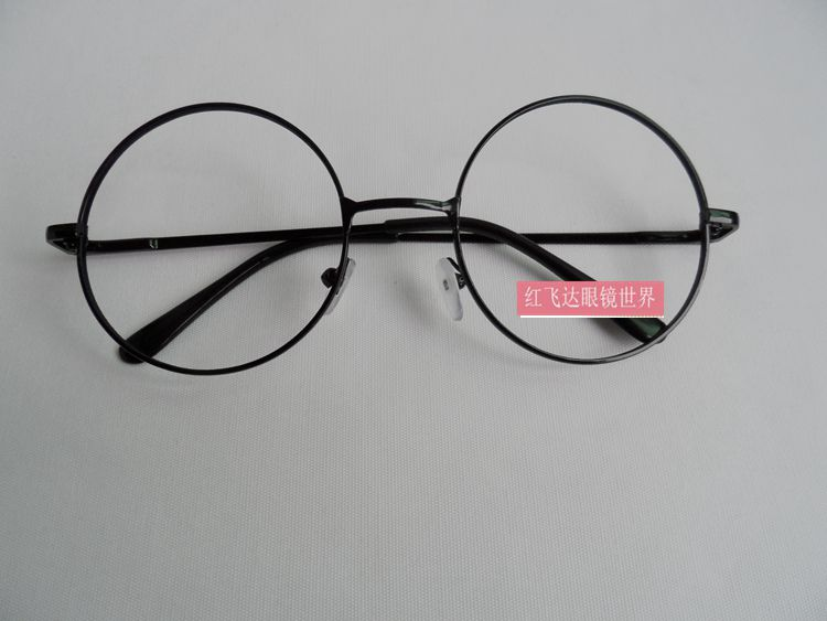 Large round metal frame eyeglass frame no lens decorative mirror fashion classic gold / silver / black frame for men and women