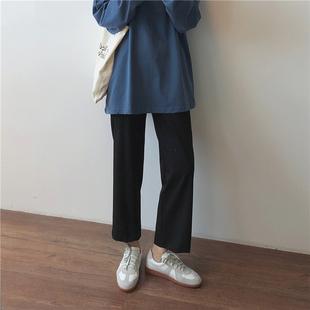 女装 裤 秋装 子宽松休闲直筒西装 女潮 胖妹妹mm显瘦遮腿粗胯宽裤 大码