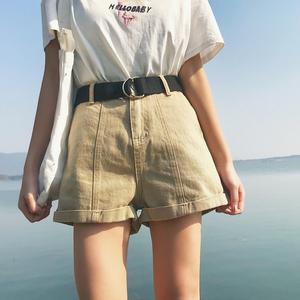 大码女装夏装新款牛仔短裤女宽松显瘦200斤胖妹妹高腰阔腿热裤子