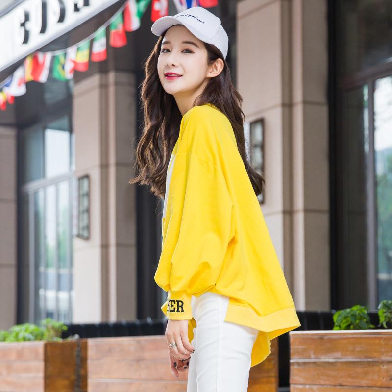 黄色短款卫衣女宽松韩版潮无帽前短后长时尚休闲上衣2020新款春装