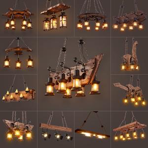 复古工业风吊灯美式网咖啡餐厅服装店酒吧台LOFT创意个性实木灯具